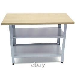 06058 HEAVY DUTY STEEL WORK BENCH 120cm GARAGE WORKBENCH TABLE wooden worktop
