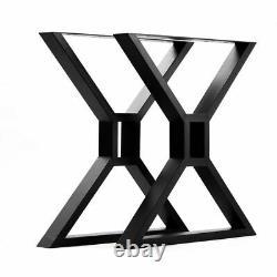 2 X Heavy Duty Wide X Shape Table Legs Coffee Table, Black Cross With Centre Box