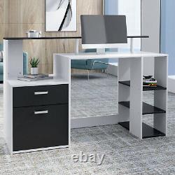 2PCS Computer Desk&Office Chair Set Corner PC Laptop Table with Drawer 5 Shelves