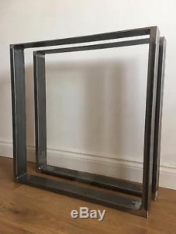2x Heavy Duty Steel Table / Bench Legs Designer Handmade Industrial Box Shape