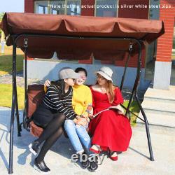 3 Seater Garden Swing Chair Outdoor Hammock Bench Lounger Patio Canopy HeavyDuty