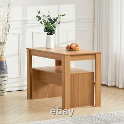 3Pcs Dining Table and 2 Chairs Bench Set Breakfast Table Home Kitchen Furniture