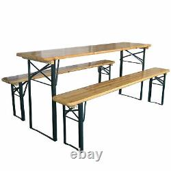 3pc Folding Table And Bench Set Wood Top Steel Metal Frame Trestle Heavy Duty