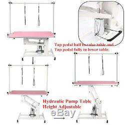 44XL Heavy Duty Hydraulic Lift Pet Dog Grooming Table Adjustable Bar Arms Leash