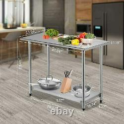 4FT Kitchen Catering Table, Heavy Duty Table Prep Workbench Stainless Steel