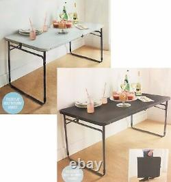 4ft Heavy Duty Folding Trestle Table Picnic Camping BBQ Built In Carry Handle