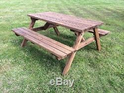 4ft Wooden Picnic Table in Brown Stain- Garden Furniture heavy duty and strong