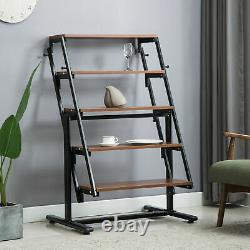 5-Tier Bookcase Bookshelf Transform Dining Table for Living Room Bedroom Kitchen