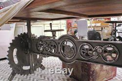 55 L Unique crank table base iron gear industrial design adjustable heavy duty