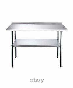 5FT Kitchen Catering Table, Heavy Duty Table Food Prep Workbench Stainless Steel