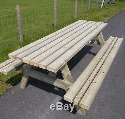 5ft Picnic Bench Extra Heavy Duty Redwood (wide Seat) Garden Table