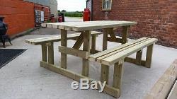 5ft Walk In Picnic Bench Heavy Duty Wide Seat Garden Table