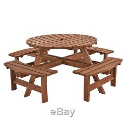 6/8 Seater Heavy Duty Round Wooden Picnic Table Pub Bench Patio Garden Furniture