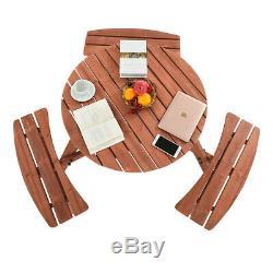 6, 8 Seater Heavy Duty Wooden Round Pub Picnic Bench Table Outdoor Patio Garden