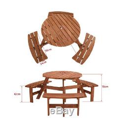 6 Seater Round Wooden Picnic Table Heavy Duty Pub Bench Patio Garden Furniture