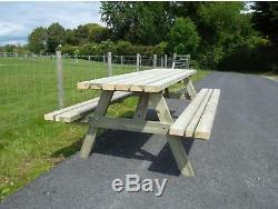 6ft Picnic Bench Extra Heavy Duty Redwood (wide Seat) Garden Table