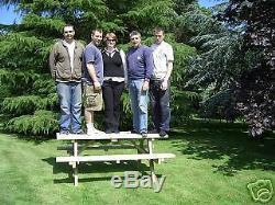 6ft Walk In Picnic Bench Extra Heavy Duty Redwood (wide Seat) Garden Table