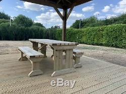6ft Wooden Picnic Table and Bench, Heavy Duty, Garden, Pub, Restaurant
