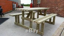7ft Walk In Picnic Bench Extra Heavy Duty Redwood (wide Seat) Garden Table