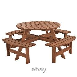 8 Seaters Wooden Pub Bench Round Picnic Table Garden Patio Heavy Duty