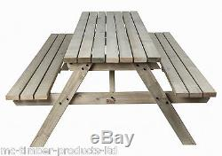 AUTUMN SALE! 6ft Wooden Timber Picnic Table Bench Heavy Duty £10 OFF