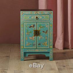 Antique Style Oriental Teal Blue With Gold Leaf Bedside Cabinet Side Table