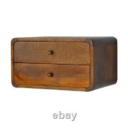 Art Deco Style Curved Chestnut Wall Mounted 2 Drawers Bedside Table In Dark Wood