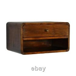 Art Deco Style Curved Chestnut Wall Mounted Bedside Table Open Slot In Dark Wood