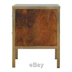 Art Deco Style Dark Wood & Gold Bedside Table With 2 Drawers And Gold Handles