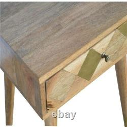 Art Deco Style Oak-ish Gold Brass Diamond Inlay Bedside Table Mid Century Modern
