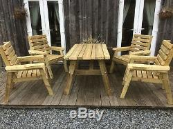 Best Wooden Patio Set, Table and 4 Chairs, Best Quality, Heavy Duty. Assembled