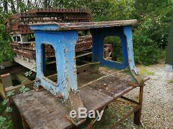 Cast iron original huge industrial table base very heavy duty