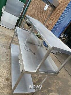 Commercial Stainless steel worktop table with shelf on top heavy duty 180x65x135