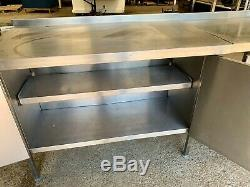 Commercial heavy duty stainless prep table bench cupboards back counter £400+vat