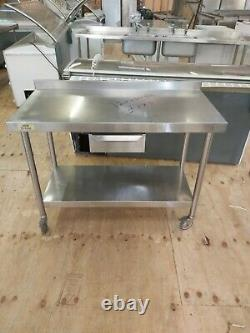 Commercial stainless steel table work top heavy duty on wheels work bench 120cm