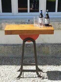 Console Table / Bar Industrial Salvage Originally Heavy Duty Grinding Wheel