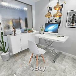 Dining/Meeting/Coffee Table Desk 5 in 1 Elevated Folding Rectangle in White
