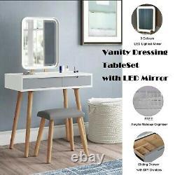 Dressing Table Vanity Makeup Desk withLED Light Mirror Stool Set Drawer Organiser