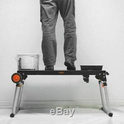 Folding Metal Workbench Portable Mobile Workshop Garage Heavy Duty Table Wheels