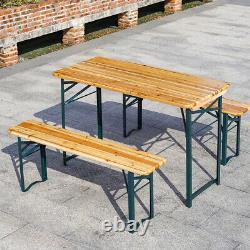 Folding Picnic Table and Bench Set Wood Metal Outdoor Garden Furniture Rectangle