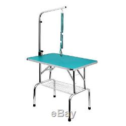 Free Paws 36 In Foldable Pet Dog Grooming Table with Arm No Sit Restraint Noose