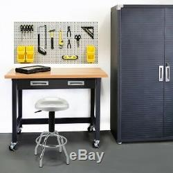 Garage Shop Work Bench Table Workshop Heavy Duty Steel Frame Wood Top with Drawer