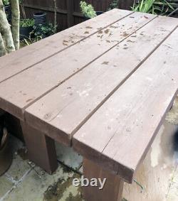 Garden Table & Bench Set Heavy Duty Outside Furniture Dark Oak Colour Solid