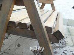 Garden patio wooden furniture set table, bench & chairs (VERY Heavy Duty)