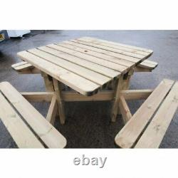 HEAVY DUTY Wooden Square Pub 8 Seater Picnic Table Heavy Pressure Treated Bench