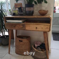 Handmade Console Table Natural Wood Finish Hallway Side Cabinet Handmade Unit