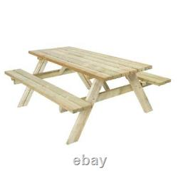 Harrier Wooden Picnic Table HEAVY-DUTY 4-SEATER BENCH Garden/Patio Furniture