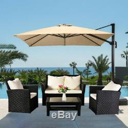Heavy Duty 4PCS Rattan Garden Sofa Outdoor Furniture Sets Patio 4 Seaters Table