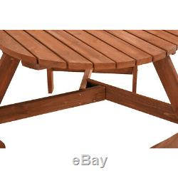 Heavy Duty 6 Seater Wooden Garden Patio Round Picnic Bench Pub Table Outdoor UK