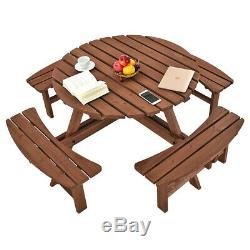 Heavy Duty 8 Seater Wooden Pub Bench Round Picnic Beer Table Garden Furniture